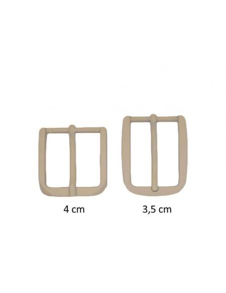 Fibbia anallergica nickel free gommata avorio per cinture da 3,5 e 4 cm