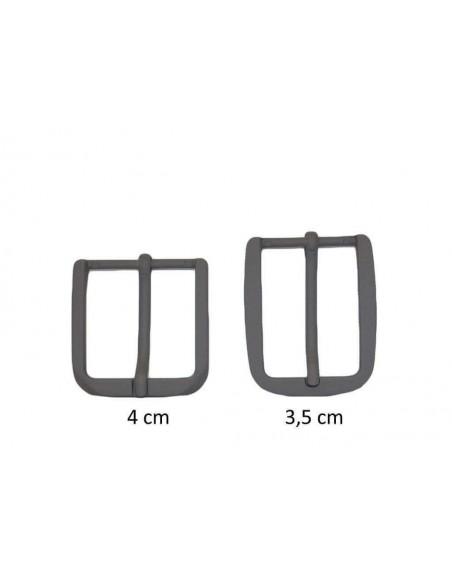 Fibbia anallergica nickel free gommata grigio scuro per cinture da 3,5 e 4 cm