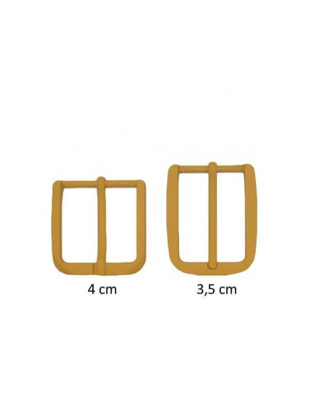 Fibbia anallergica nickel free gommata gialla per cinture da 3,5 e 4 cm