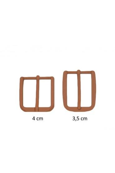 Fibbia anallergica nickel free gommata cammello per cinture da 3,5 e 4 cm