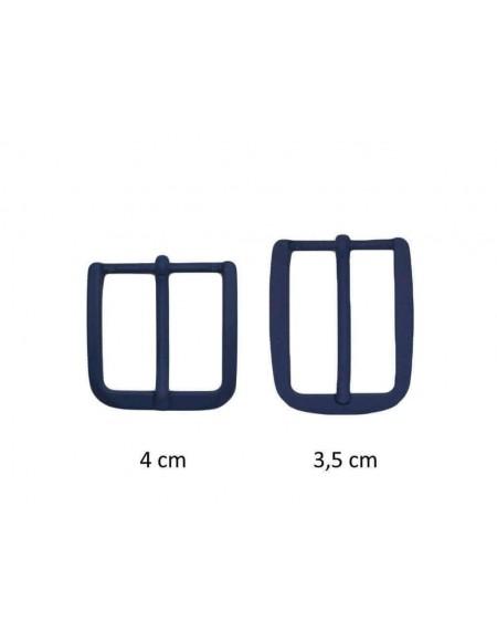 Fibbia anallergica nickel free gommata blu scuro per cinture da 3,5 e 4 cm