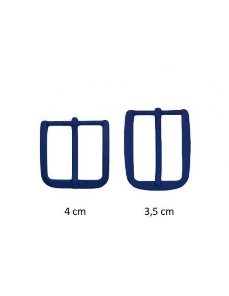 Fibbia anallergica nickel free gommata blu elettrico per cinture da 3,5 e 4 cm