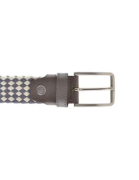 Cintura uomo in cotone cerato intrecciata bicolore panna e grigio
