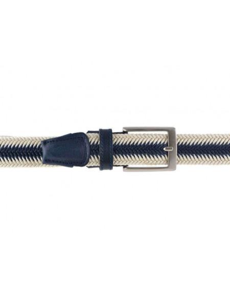 Cintura uomo in corda cerata intrecciata a spina di pesce bicolore panna e blu