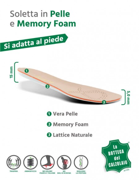 Soletta scarpe memory foam in pelle naturale e lattice 2 pz