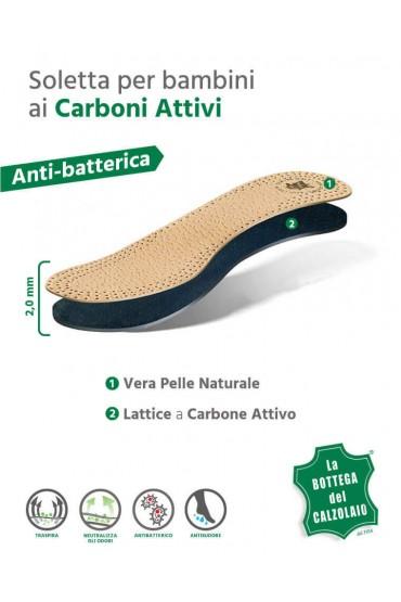 Soletta scarpa per bambini in pelle naturale e carboni attivi 2 pz